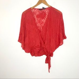New York & Company Red Faux Wrap Batwing Top M